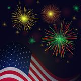 Independence Day vector golden reg green fireworks and american. United States flag and celebration golden reg green fireworks vector background. Independence Royalty Free Stock Images