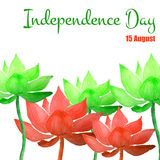 Independence day. Vector Illustration of Independence India Day for Design, Website, Background, Banner. Watercolor 15 August flyer card Element Template. Green Royalty Free Stock Image