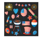 Independence day vector pack. Fourth of july fireworks. USA flag, cylinder hat, balloons, star, hearts, flip flop. AI. Stock Images