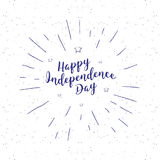 Independence day vintage lettering. Handwritten lettering, calligraphic phrase on white background with sunburst vector. Illustration hipster style Stock Photography