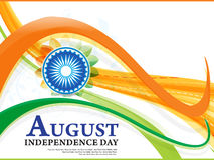 Independence day wave background with ashok chakra Royalty Free Stock Image