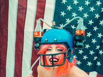 Independence day woman with flag and drink helmet Stock Images