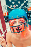 Independence day woman with flag and drink helmet Stock Image