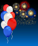 Independence Fireworks. Red White and Blue Balloons and Fireworks Celebrate USA independence day, veterans day or even memorial day with this patriotic vector illustration