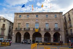 Independence flags in Manresa, catalonia. MANRESA ,SPAIN - SEPTEMBER 03, 2017: Numerous independence flags flood the balconies in the town hall square of Manresa royalty free stock images