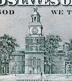 Independence Hall. On Banknote of United States of America - dollars Royalty Free Stock Image