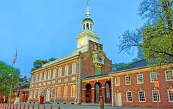 Independence Hall in Chestnut Street in Philadelphia in the even Royalty Free Stock Images
