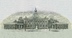 Independence Hall. On 100 Dollars Bill Royalty Free Stock Images
