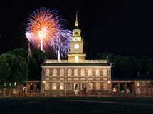 Independence Hall Fireworks. Fireworks at Independence Hall National Historic Park in Philadelphia Stock Image