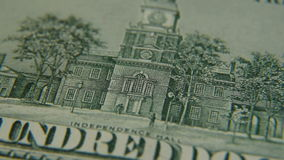 Independence hall on a hundred dollar bill close-up stock video footage