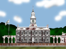 Independence Hall. This is Independence Hall made from dollars brown. Here is shown the outer part of the building Stock Photo