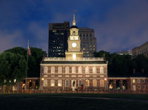 Independence Hall Night. Independence Hall at night in downtown Philadelphia Pennsylvania Royalty Free Stock Photography