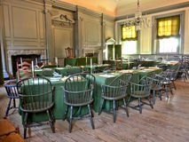 Independence Hall in Philadelphia Pennsylvania. Historic Assembly room at Independence Hall in Philadelphia Pennsylvania as home of the July fourth 1776 Stock Photos