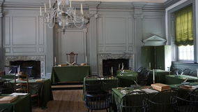 Independence Hall in Philadelphia. Restored Assembly Room with Rising Sun Chair of George Washington at the Independence Hall in Philadelphia Royalty Free Stock Photography