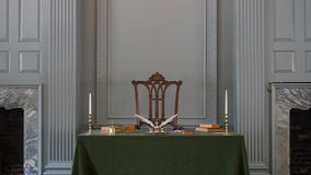 Independence Hall in Philadelphia. Restored Assembly Room with Rising Sun Chair of George Washington at the Independence Hall in Philadelphia Stock Photos