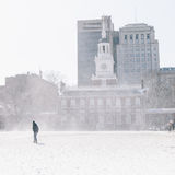 Independence Hall. In snowing winter, PA Stock Photo