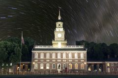 Independence Hall Star Trails Stock Photos