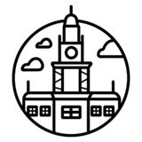 Independence Hall The symbol of Philadelphia, USA. Vector one line minimalist icon royalty free illustration