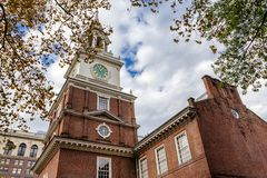 Independence hall yard view in fall, Philadelphia, USA. Independence hall yard view in fall season in Philadelphia, USA royalty free stock images