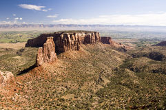 Independence Monument. Located in the Colorado National Monument raises above the Colorado River Valley Stock Photos