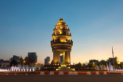 Independence Monument at dusk, Phnom Penh, Cambodia Royalty Free Stock Photo