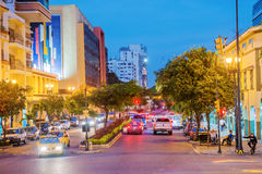 Independence Monument in Guayaquil Ecuador. Guayaquil, Ecuador - April 15, 2016: Night view at the traffic a on the street leading to monument to the Ecuador Stock Images