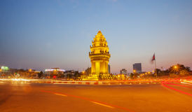 Independence Monument at night, Phnom Penh, Cambodia. Royalty Free Stock Photography