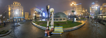 Independence monument panorama and love lanterns Royalty Free Stock Images