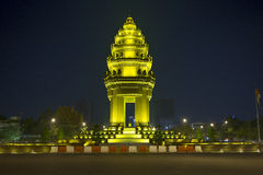 Independence monument in phnom penh cambodia. At night Royalty Free Stock Photos