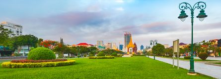 The Independence Monument in Phnom Penh, Cambodia. Panorama stock images