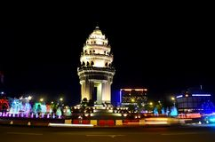 Independence Monument Phnom Penh Cambodia. By night. Colorful lights in the city Stock Photo