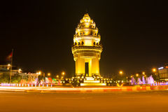 Independence monument in phnom penh,Cambodia. Night light independence monument in phnom penh,Cambodia Royalty Free Stock Photography