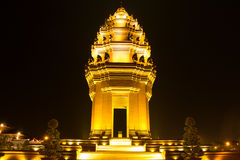 Independence monument in phnom penh,Cambodia. Night light independence monument in phnom penh,Cambodia Royalty Free Stock Images