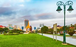 The Independence Monument in Phnom Penh, Cambodia. Panorama stock photos