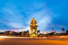 Independence monument at Phnom Penh city. In twilight Royalty Free Stock Image