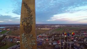 The Independence Monument in Tulcea city,aerial view. The Independence Monument in Tulcea city - Romania, aerial view stock footage