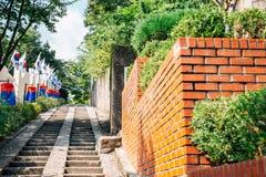 3.1 Independence Movement Road stairs with Korean national flag Taegeukgi in Daegu, Korea. 3.1 Independence Movement Road stairs with Korean national flag stock image