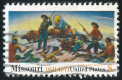 Independence and opening of the West. UNITED STATES - CIRCA 1971: stamp printed by United States of America, shows picture `Independence and opening of the West Stock Photography