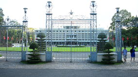 Independence Palace through the Front Gates - Ho Chi Minh City (Saigon) Vietnam. Former President Ngo Dinh Diem Residence during the Vietnam War stock video footage