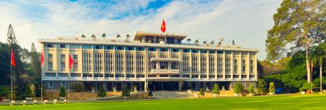 Independence Palace in Ho Chi Minh City, Vietnam. Panorama. Independence Palace or Reunification Palace in Ho Chi Minh City, Vietnam. Panorama royalty free stock image