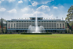 Independence Palace in Ho Chi Minh City with water fountain, Vie Stock Photo