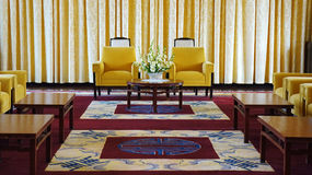 Independence Palace interior, Ho Chi Minh. HO CHI MINH CITY, VIETNAM- AUG 16: Antique view of Independence Palace interior, beautiful living room, luxury Royalty Free Stock Photography