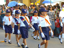 Independence parade. Children in uniform walking in the independence parade in Aracaju, Brazil Stock Photography