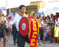 Independence parade. Man with large drum walking in the independence parade in Aracaju, Brazil Stock Photos