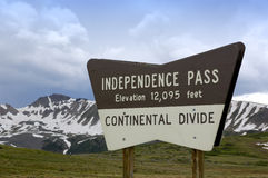 Independence Pass Colorado. A view from the top of Independence Pass in the Rocky Mountains of Colorado on the continental divide Royalty Free Stock Photo