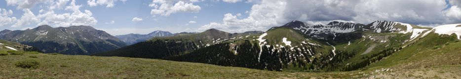 Independence Pass Colorado Panoramic. A view from the top of Independence Pass in the Rocky Mountains of Colorado on the continental divide Royalty Free Stock Image