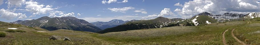 Independence Pass Colorado Panoramic With Hikers. A view from the top of Independence Pass in the Rocky Mountains of Colorado on the continental divide with Stock Image