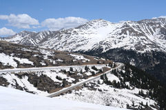 Independence Pass. In Late May, snow is still everywhere near the summit (the Continental Divide) of the famous Independence Pass (12,095 ft stock photography