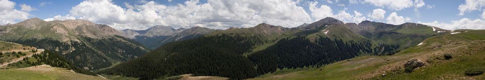 Independence Pass panorama. True wide (and very large) panorama of the mountaintops of central Colorado, as viewed from the top of Independance Pass, near Aspen Royalty Free Stock Photo
