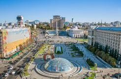 Independence Square, Kyiv, Ukraine. Aerial view of Independence Square (Maidan Nezalezhnosti) in Kiev, Ukraine Royalty Free Stock Photography